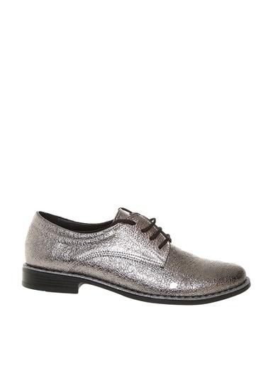 Limon Company Suni Deri Parlak Kadın Düz Ayakkabı Gümüş